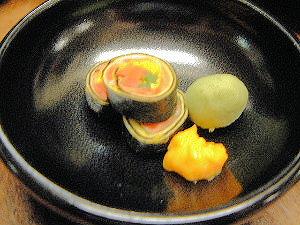 スモークサーモン錦糸巻き