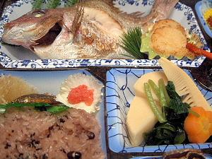 鯛の塩焼き、赤飯