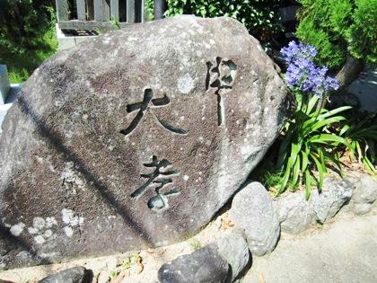 等彌神社石碑とアガパンサス