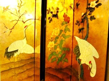 鶴の金屏風