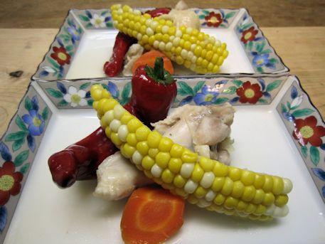トウモロコシと鶏手羽元の塩煮