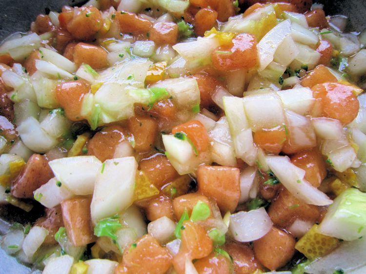 柿と玉葱のラヴィゴットソース