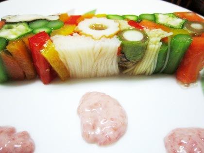 三輪素麺と春野菜のテリーヌ
