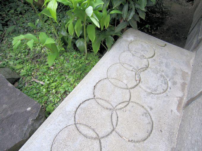 中庭の踏み台