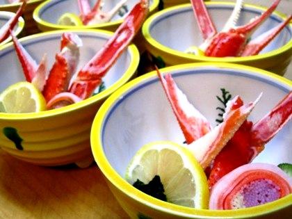 蟹酢三輪素麺砧巻き