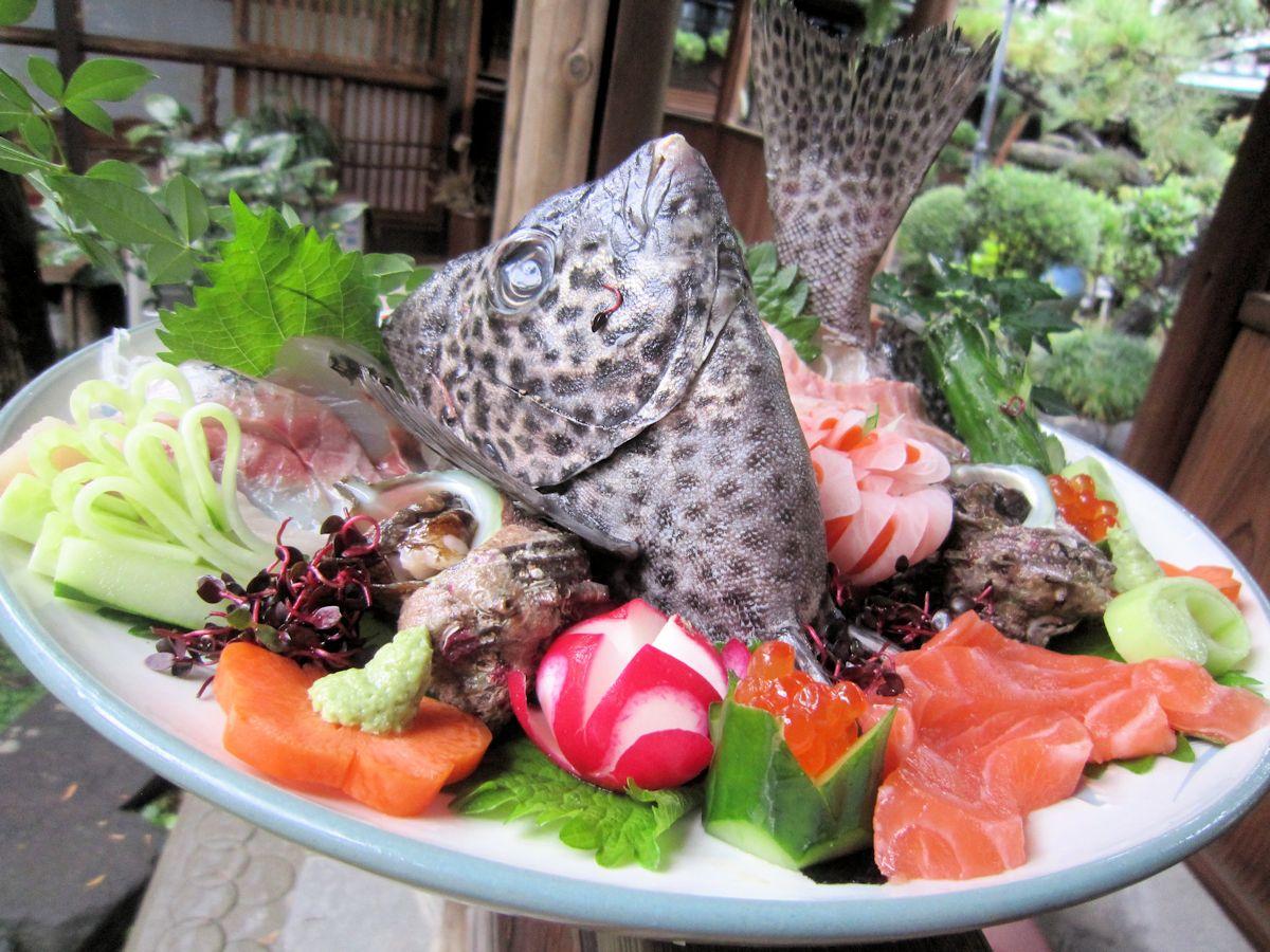 spotted knifejaw, whole fish sashimi