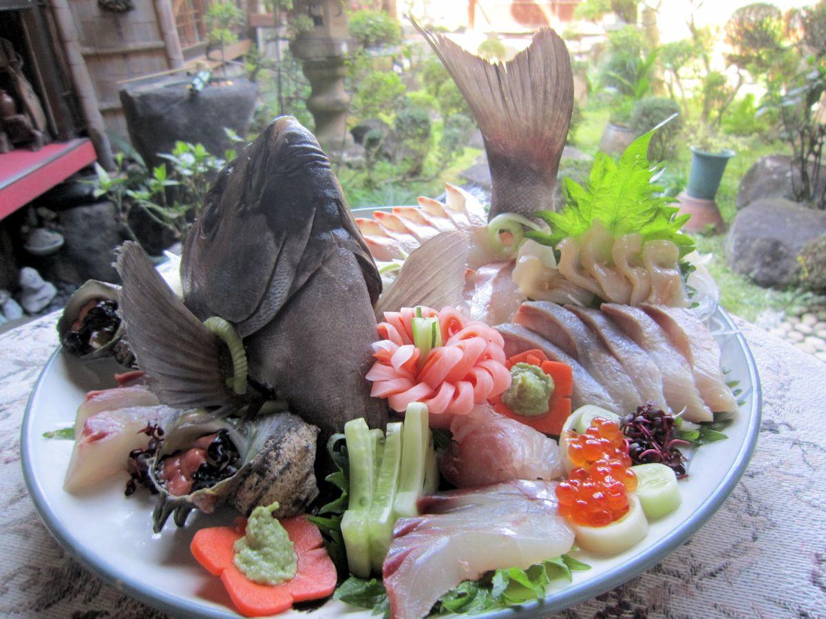 石鯛と白ミル貝の姿造り
