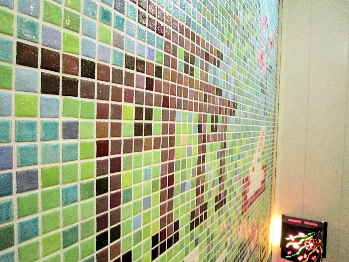 三ツ鳥居の浴室アートタイル